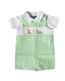 Newborn Green Seersucker Smocked Shortall with Dinosaur Embroideries
