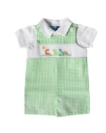 Infant Boys Green Seersucker Smocked Shortall Set with Dinosaur Embroideries