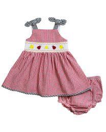df5643480eb Newborn Infant Girls Red Seersucker Smocked Sundress with Ladybug  embroideries