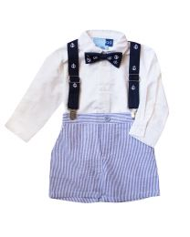 Infant Boys Seersucker Suspender Short Set with Woven Shirt and Bowtie