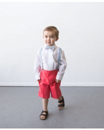 Good Lad Toddler Boys Coral Twill Suspender Short Set with Bowtie