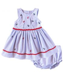 Good Lad Infant Girls Seersucker Sundress with Nautical Embroideries and Panty