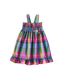 Newborn Girls Easy Pull On Pink Cotton Plaid  Sundress with Panty