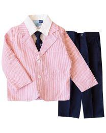 4 7 Suit-Seersucker Jacket With Twill Pant