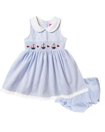Newborn/Infant Girls Red or Blue Seersucker Smocked Dress with Nautical Embroideries