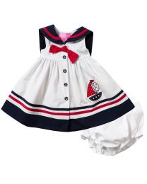 Newborn/Infant Girls White Classic Button Front Nautical dress with Sailboat Applique