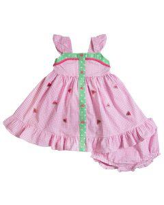 c664af6a855ed Infant Girls Pink Seersucker Flutter Sleeve Sundress with Watermelon  Embroideries