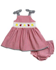 1c9c4ca8c5dd4 Newborn/Infant Girls Red Seersucker Smocked Sundress with Ladybug  embroideries, includes matching seersucker panty